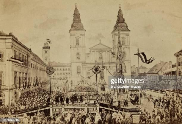 Coronation of Emperor Franz Joseph I as king of Hungary in Budapest. 8th June 1867. Reprophotograph. Krönung Kaiser Franz Josephs I. Zum König von...