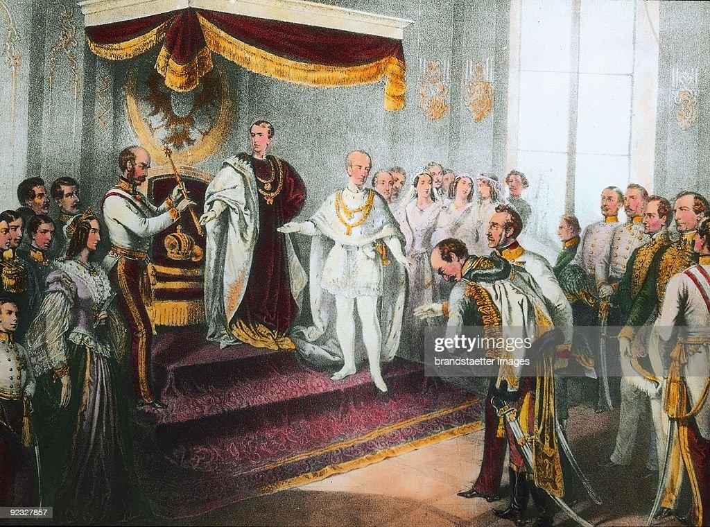 Coronation of Emperor Franz Joseph I in Olmuetz. Lithograph. 2 December, 1848. : News Photo