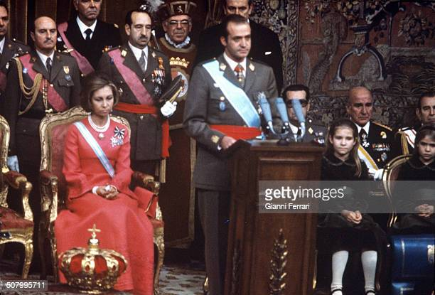 Coronation of Juan Carlos of Borbon and Sofia of Greece as Kings of Spain22nd November 1975 Madrid Spain