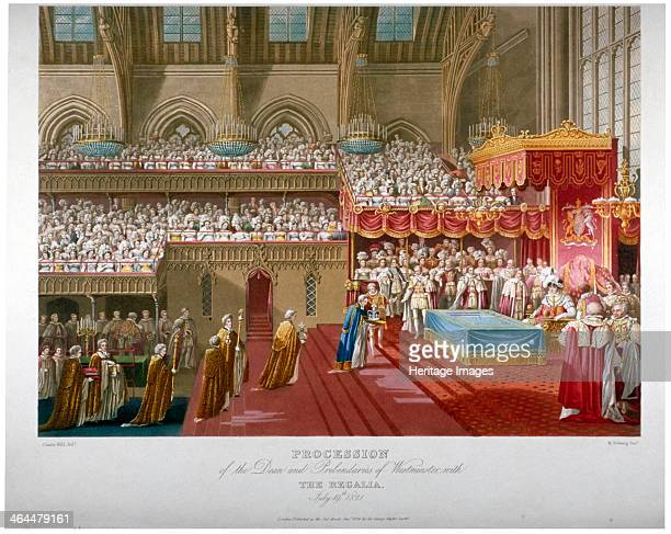 Coronation of King George IV Westminster Hall London 1821 'Procession of the Dean and Prebendaries of Westminster with the regalia July 19th 1821'