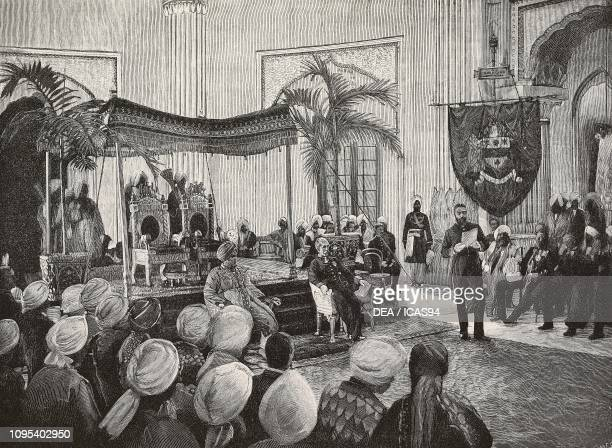 Coronation of Maharaja Jagatjit Singh in presence of GovernorGeneral Henry PettyFitzmaurice November 24 Darbar Hall Kapurthala India engraving from...