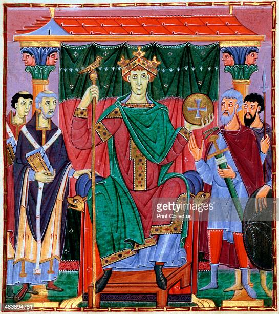 Coronation of Otto III German king c998 Otto wearing a crown and holding an orb and sceptre is flanked on the left of picture by representatives of...
