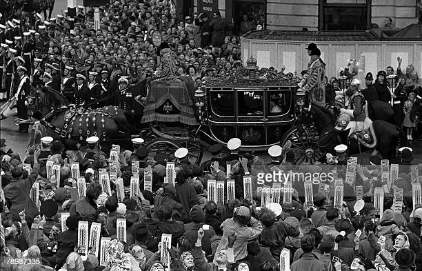 1953 Coronation of Queen Elizabeth II Coronation Procession London England The Irish State Coach carrying The Queen and Princess Margaret in...