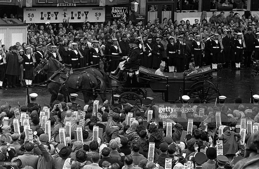1953. Coronation of Queen Elizabeth II. Coronation Procession. London, England. Coronation Procession. Queen Salote of Tonga shared a carraige with the Sultan of Kelantan. 2nd June 1953. : News Photo
