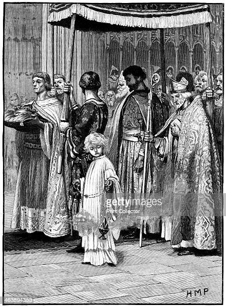 Coronation of Richard I in Westminster Abbey 1189 Richard the Lionheart processing down the aisle Eldest son of Henry II and Eleanor of Aquitaine he...