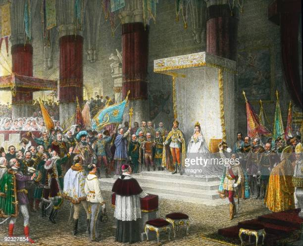 Coronation of the imperial couple. Lithograph. 1867.