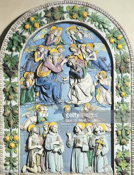 Coronation of the Virgin by Andrea della Robbia glazed earthenware Cathedral of Santa Maria Assunta in La Spezia Liguria
