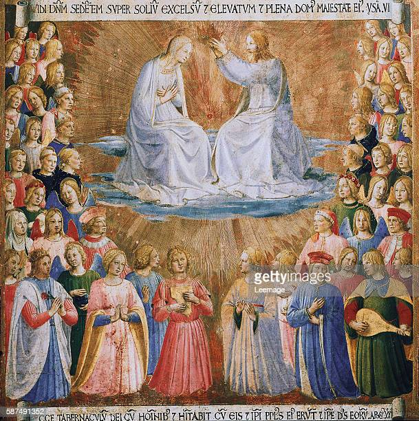 Coronation of the Virgin from the Armadio degli Argenti Painting Series by Fra Angelico - Tempera on wood panel - Creation date: ca. 1450 - Located...