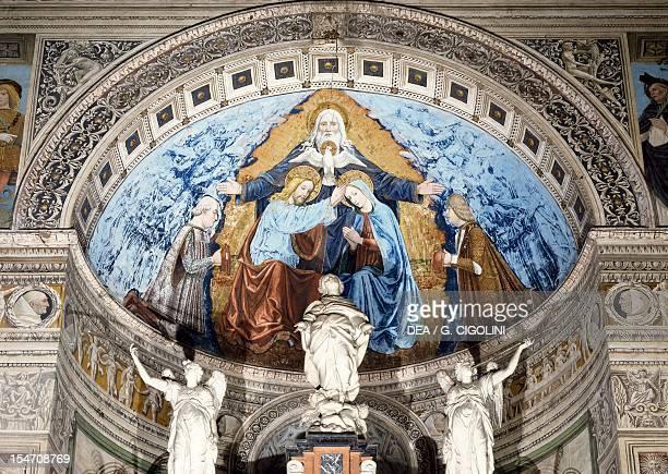 Coronation of the Virgin with Francesco Sforza, Ludovico il Moro, fresco by Ambrogio da Fossano known as Bergognone in the apse of the left transept,...