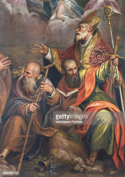Coronation of the Virgin with Saints Anthony the Great Peter Paul and Benedict by Paolo Farinati 16th Century oil on canvas