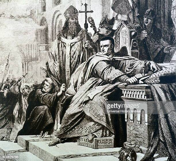 Coronation of William I as King of England in 1066 The coronation was interupted by a fire which broke out at Westminster Abbey