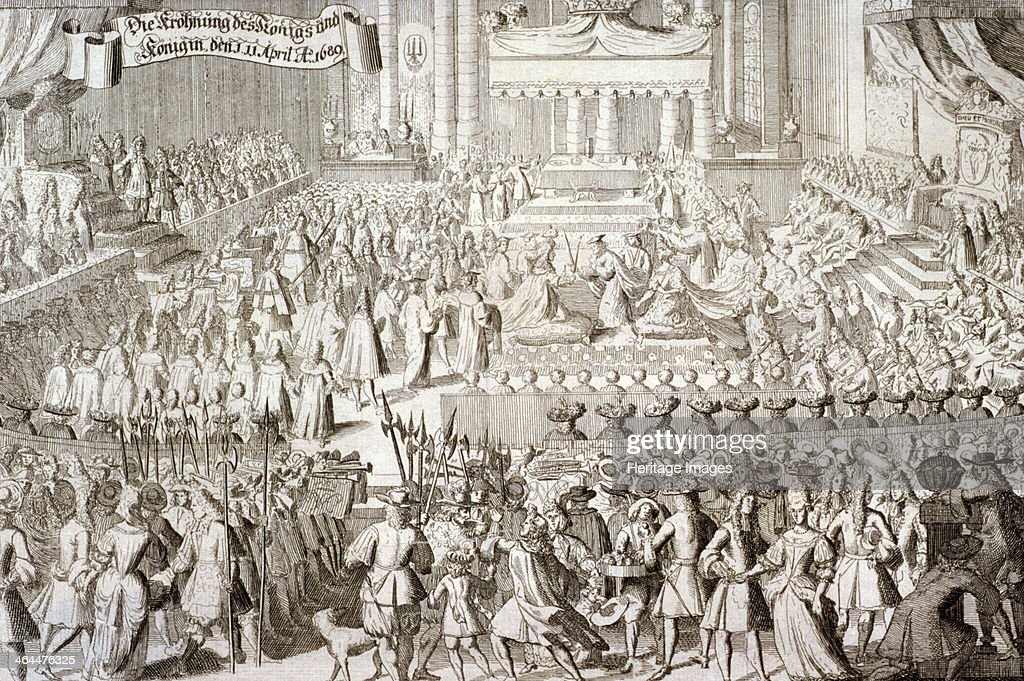 Coronation of William III and Mary II in Westminster Abbey, London, 1689. Artist: Anon : News Photo