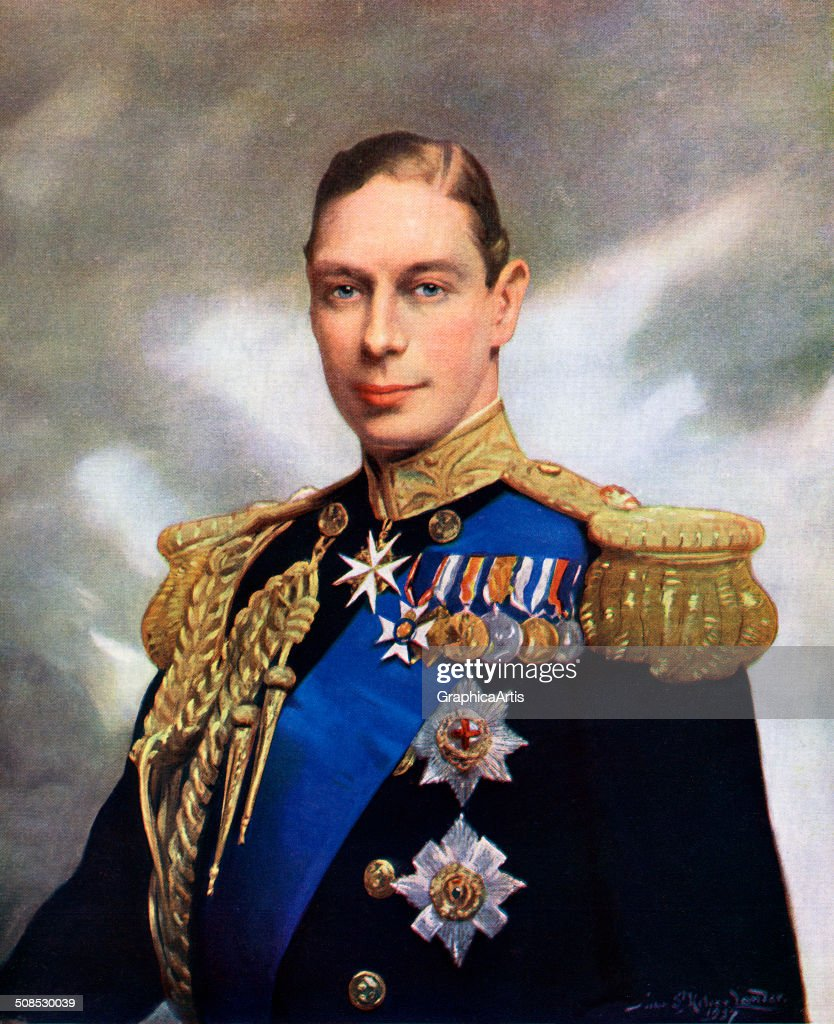 Coronation portrait of King George VI, by John Helier Lander, screen print, 1937.