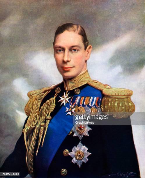 Coronation portrait of King George VI by John Helier Lander screen print 1937
