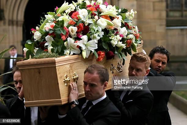 Coronation St cast members Jack P Shepherd Alan Halsall Mikey North and Ryan Thomas carry the coffin of Coronation Street scriptwriter Tony Warren...