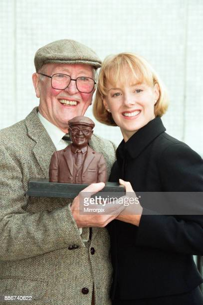 Coronation Street actor Bill Waddington with a chocolate bust of his character Percy Sugden to celebrate Cadbury's sponsorship deal with the soap He...