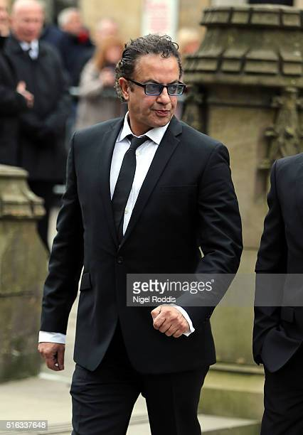 Coronation Street actor Jimmi Harkishin arrives for the funeral of Coronation Street scriptwriter Tony Warren at Manchester Cathedral on March 18...