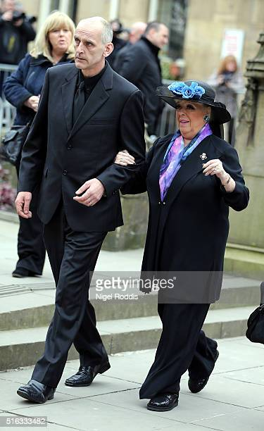 Coronation Street actor Julie Goodyear arrives for the funeral of Coronation Street scriptwriter Tony Warren at Manchester Cathedral on March 18 2016...