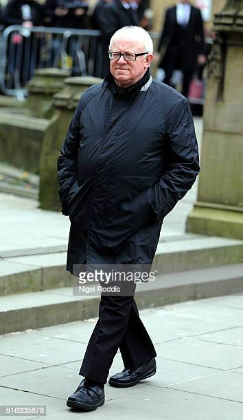 Coronation Street actor Ken Morley arrives for the funeral of Coronation Street scriptwriter Tony Warren at Manchester Cathedral on March 18 2016 in...