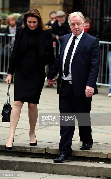 Coronation Street actor Les Dennis and his wife Claire Nicholson arrive for the funeral of Coronation Street scriptwriter Tony Warren at Manchester...