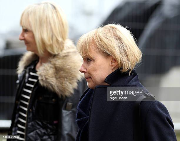 Coronation Street actor Sally Dynevor arrives for the funeral of Coronation Street scriptwriter Tony Warren at Manchester Cathedral on March 18 2016...