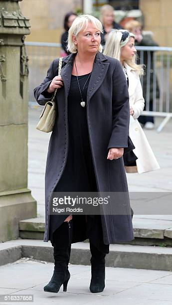 Coronation Street actor Sue Cleaver arrives for the funeral of Coronation Street scriptwriter Tony Warren at Manchester Cathedral on March 18 2016 in...
