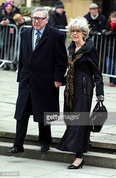 Coronation Street actor Sue Nicholls arrives for the funeral of Coronation Street scriptwriter Tony Warren at Manchester Cathedral on March 18 2016...