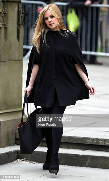Coronation Street actor Tina O'Brian arrives for the funeral of Coronation Street scriptwriter Tony Warren at Manchester Cathedral on March 18 2016...