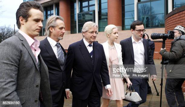 Coronation Street actor William Roache arrives at Preston Crown Court with sons James Linus and daughter Verity where where he faces two counts of...