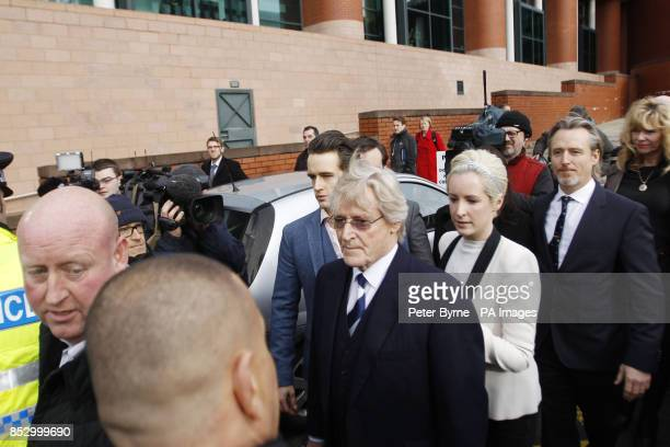 Coronation Street actor William Roache leaves Preston Crown Court with son James Roache daughter Verity and son Linus Roache as he was today found...