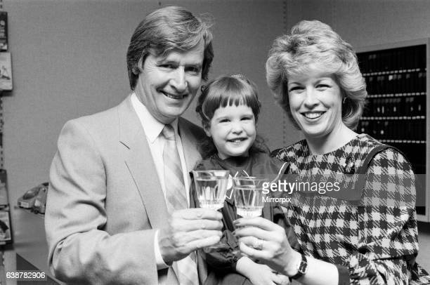 Coronation Street actor William Roache opening a shop in Bolton with his wife Sarah and daughter Verity 25th May 1985