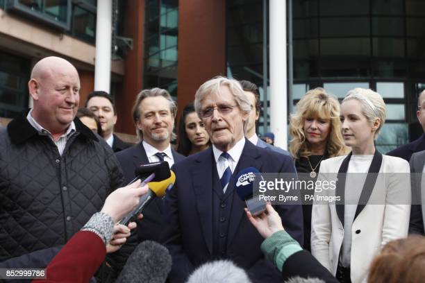 Coronation Street actor William Roache speaks to the media outside Preston Crown Court with son Linus and daughter Verity as he was today found not...