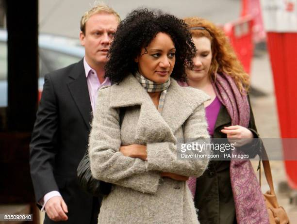 Coronation Street actors Antony Cotton, Tupele Dorgu and Jennie McAlpine arrive for a memorial service for Sara Roache, the wife of Coronation Street...
