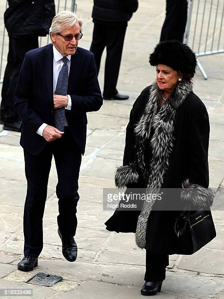 Coronation Street actors Barbara Knox and William Roache arrive for the funeral of Coronation Street scriptwriter Tony Warren at Manchester Cathedral...