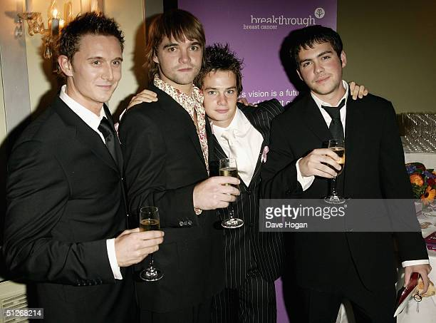 Coronation Street actors Chris Finch Rupert Hill Danny Young and Bruno Langley arrive at the 'TV Quick Awards 2004' at The Dorchester on September 6...