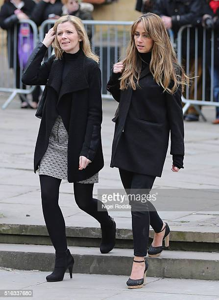 Coronation Street actors Jane Danson and Samia Ghadie arrive for the funeral of Coronation Street scriptwriter Tony Warren at Manchester Cathedral on...