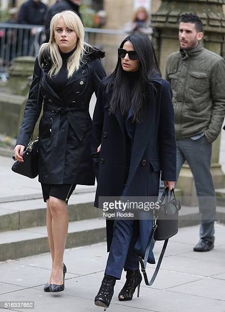 Coronation Street actors Katie McGlynn and Sair Khan arrive for the funeral of Coronation Street scriptwriter Tony Warren at Manchester Cathedral on...