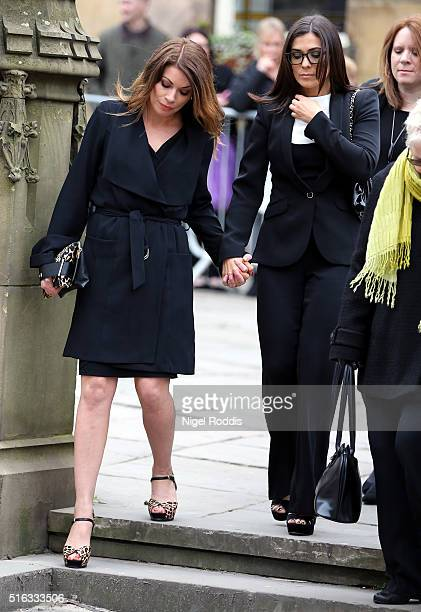 Coronation Street actors Kym Marsh and Alison King arrive for the funeral of Coronation Street scriptwriter Tony Warren at Manchester Cathedral on...
