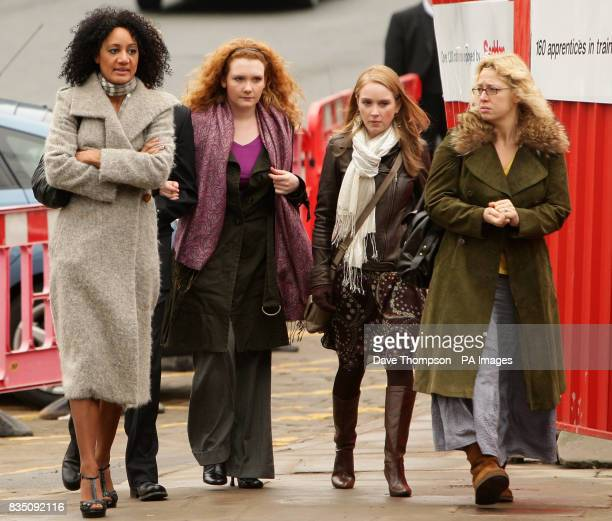 Coronation Street actors Tupele Dorgu, Jennie McAlpine, Julia Haworth and and Katy Cavanagh arrive for a memorial service for Sara Roache, the wife...