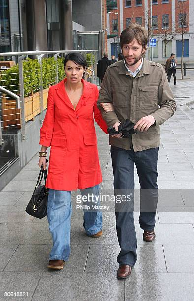 Coronation Street actress Alison King arrives at her hotel on April 12 2008 in Dublin Ireland