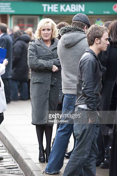 Coronation Street Actress Beverley Callard Waits To Meet Camilla, The Duchess Of Cornwall, Outside The Rovers Return Inn At Granada Studios,...