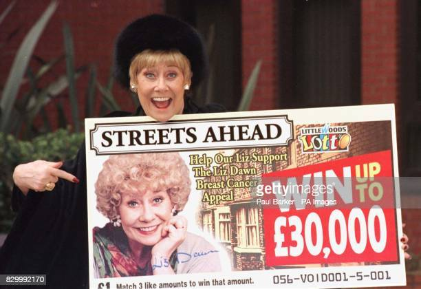 Coronation Street actress Liz Dawn alias Rovers Return land lady 'Vera Duckworth' launches the Littlewoods Lotteries 'Streets Ahead' scratch card in...