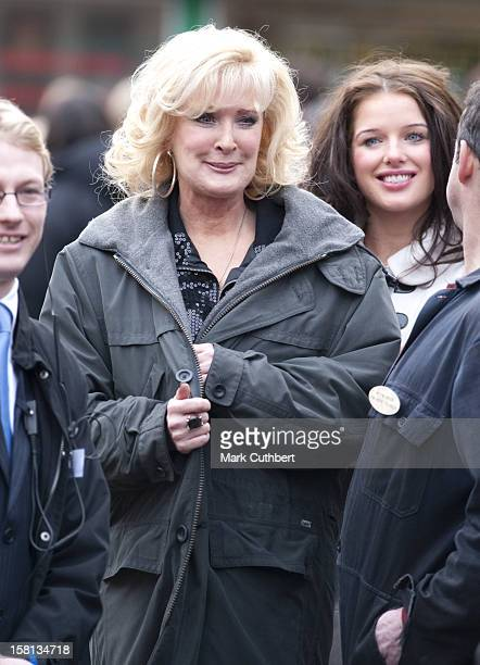 Coronation Street Actresses Beverley Callard And Helen Flanagan Waits To Meet Camilla, The Duchess Of Cornwall, Outside The Rovers Return Inn At...