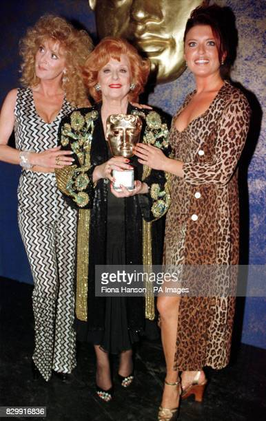 Coronation Street actresses Beverley Callard Barbara Knox and Tina Hobley with their award at the BAFTA Awards ceremony at the Royal Albert Hall