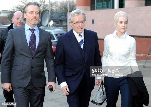 Coronation street star William Roache arrives at Preston Crown court with son Linus and daughter Verity where he faces two counts of raping a...
