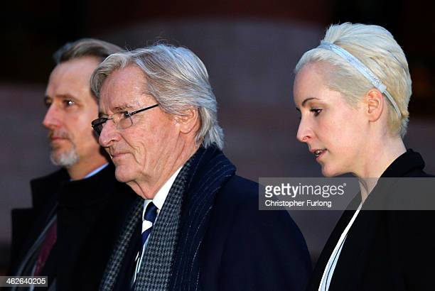 Coronation Street Star William Roache leaves Preston Crown Court with his children Linus Roache and daughter Verity Roache after the first day of his...