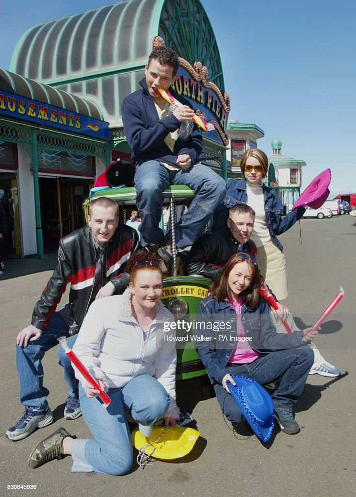 Coronation Street stars Ryan Thomas (Jason), Andy Whyment (Kirk), Alan Halsall (Tyrone), Georgia Taylor (Toyah) Jennie McAlpine (Fiz) and Samia Ghadie (Maria) during a photocall on Blackpool's North Pier, to promote six special episodes set in the seaside resort. *....Toyah and Maria were planning a quiet holiday in Maria's uncle's caravan but when Tyrone, Kirk, Jason, and Fiz arrive, claiming they had booked the caravan, the holiday turns out to be anything but quiet.