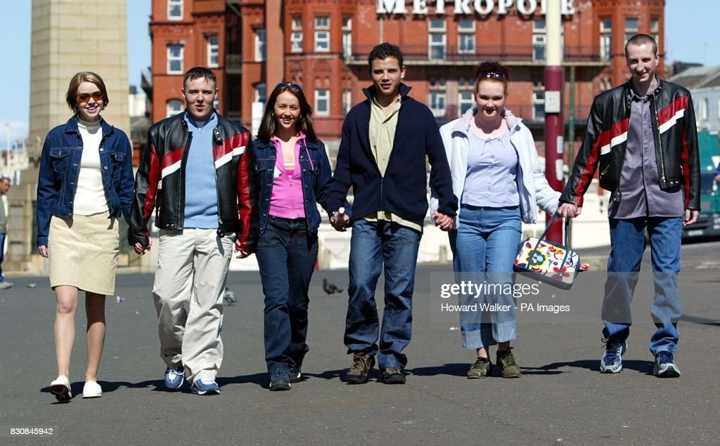Coronation Street stars Toyah (Georgia Taylor), Tyrone (Alan Halsall), Maria (Samia Ghadie), Jason (Ryan Thomas), Fiz (Jennie McAlpine) and Kirk (Andy Whyment), during a photocall in Blackpool to promote six special episodes set in the seaside resort. *...Toyah and Maria were planning a quiet holiday in Maria's uncle's caravan but when Tyrone, Kirk, Jason, and Fiz arrive, claiming they had booked the caravan, the holiday turns out to be anything but quiet.