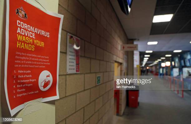 Coronavirus advice posters hang in the Stadium during the Sky Bet League One match between Sunderland and Gillingham at Stadium of Light on March 7,...