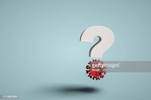coronavirus and question mark,3d render - q&a stock pictures, royalty-free photos & images